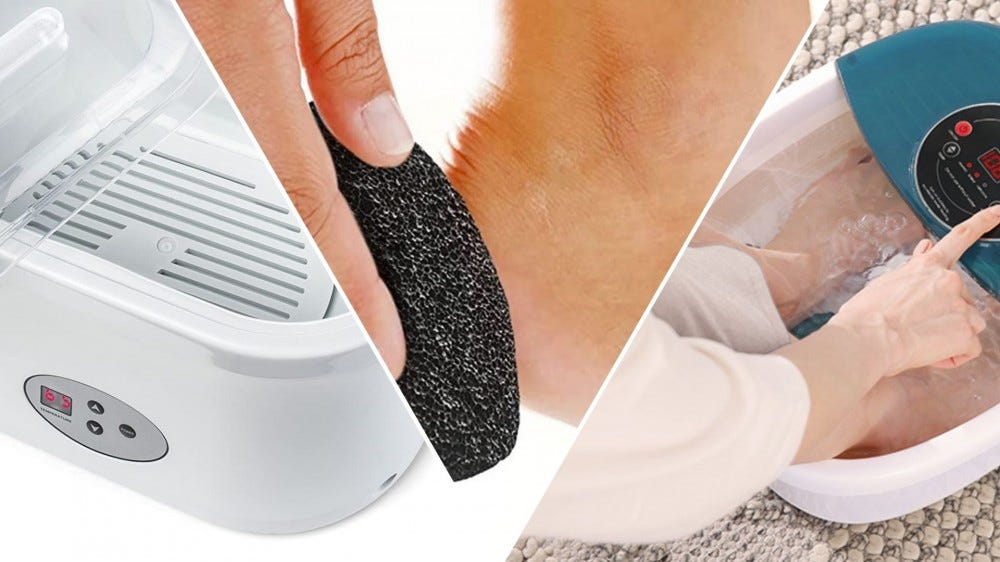 A white wax warmer, a hand using a pumice stone on a heel, a woman putting feet into a foot spa