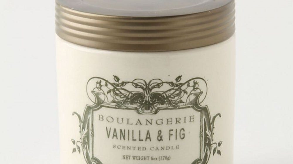 A Boulangerie Vanilla and Fig candle jar.