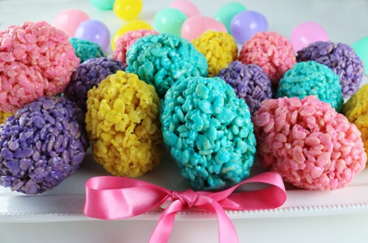 A bunch of colorful Rice Krispie Easter eggs.