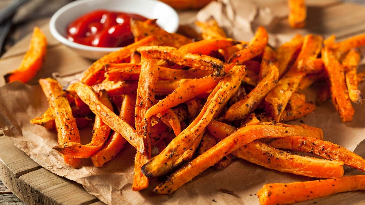 A delicious plate of sweet potato fries.