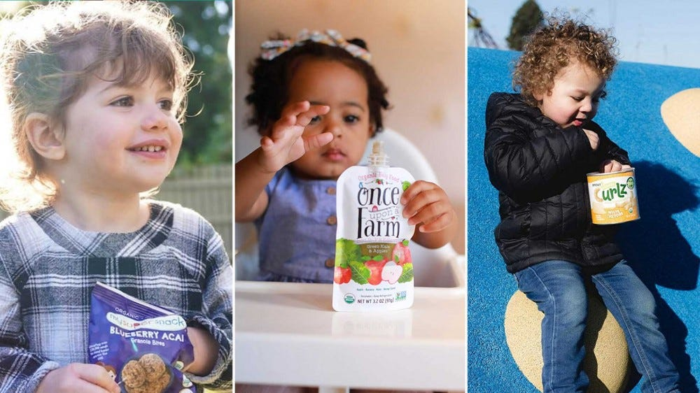 Toddlers eating yummy snacks like organic apple sauce, acai snack bites, and cheese curls.