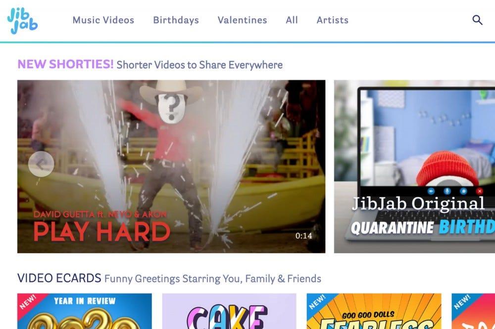 A JibJab webhely splashpage-je.