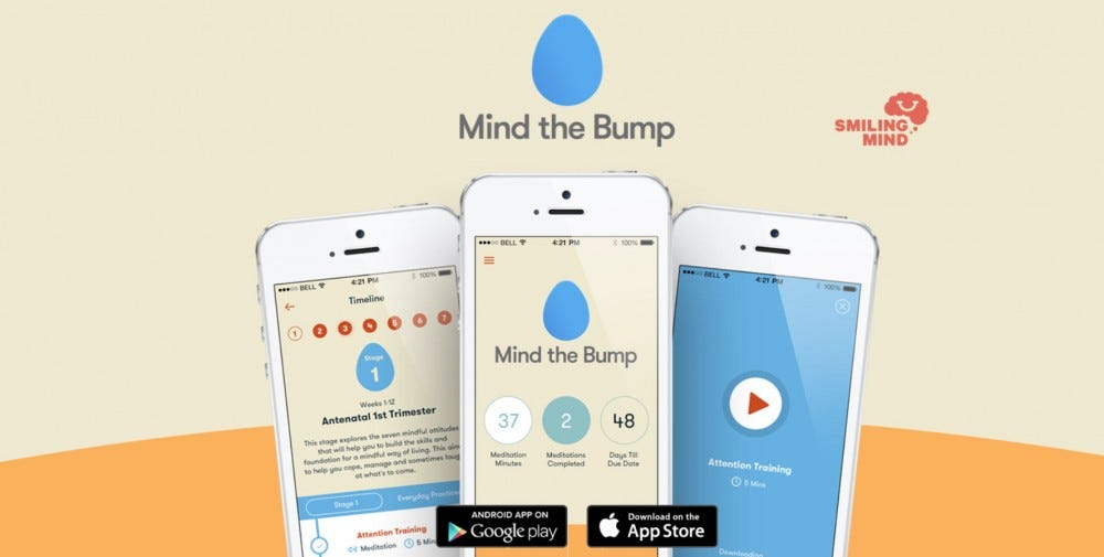 A splash image for the Mind The Bump pregnancy and meditation app.