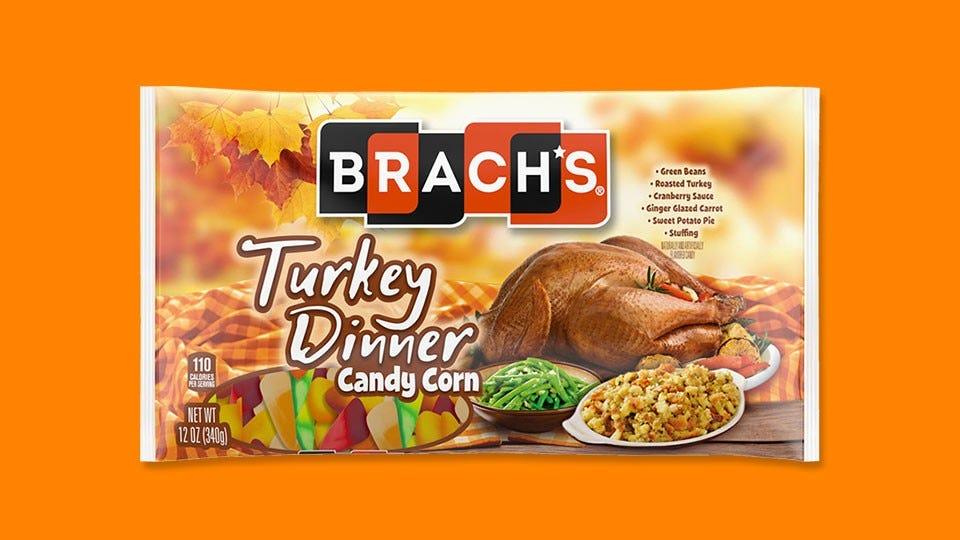 "A bag of Brach's new ""Turkey Dinner"" candy corn."