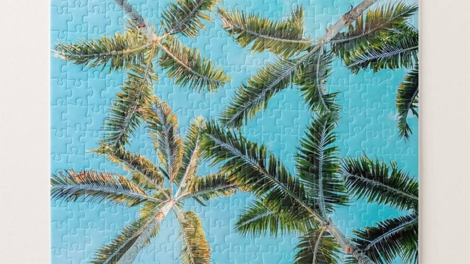 A closeup of a puzzle featuring blue skies and palm trees.