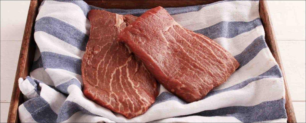 two fresh, raw flat iron steaks