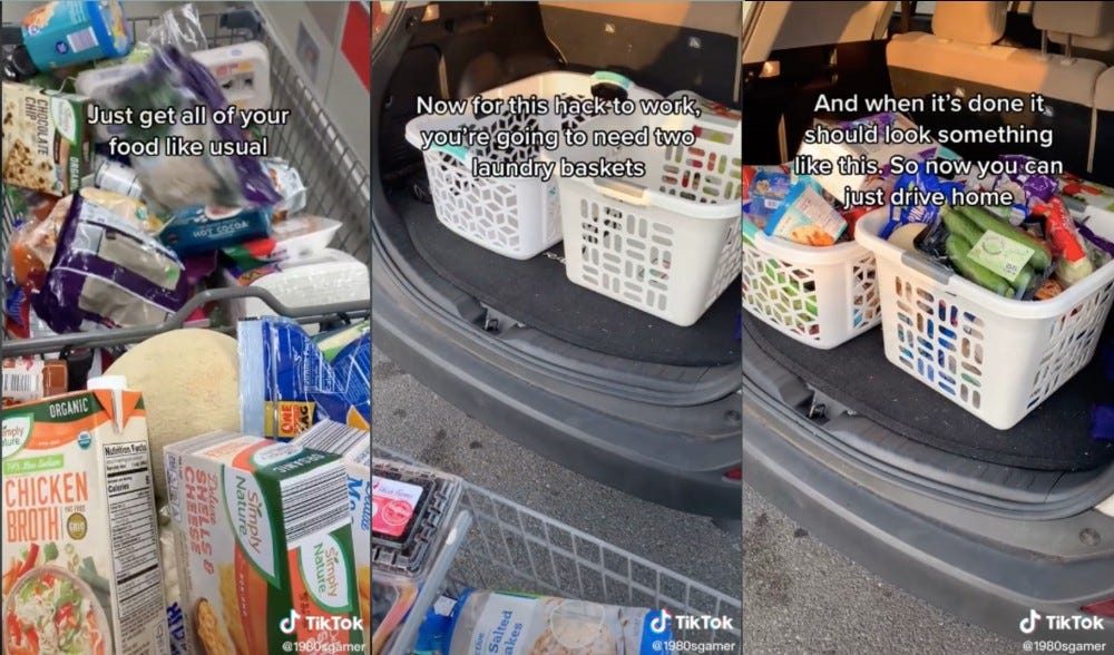 Series of images showing a cart full of groceries, two empty laundry baskets in a car trunk, and the same baskets full of groceries.