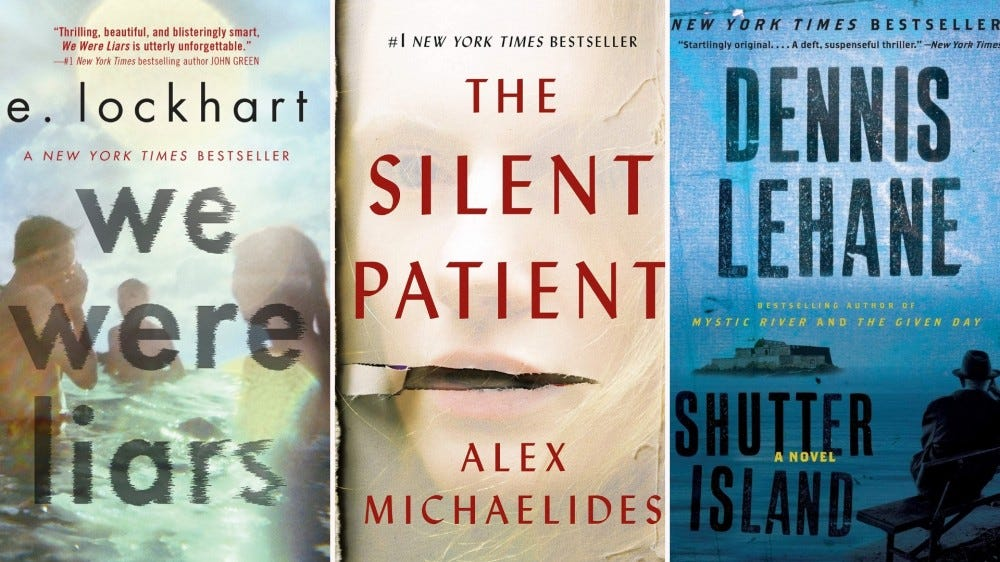 Tri-fold of We Were Liars, The Silent Patient, and Shutter Island book covers