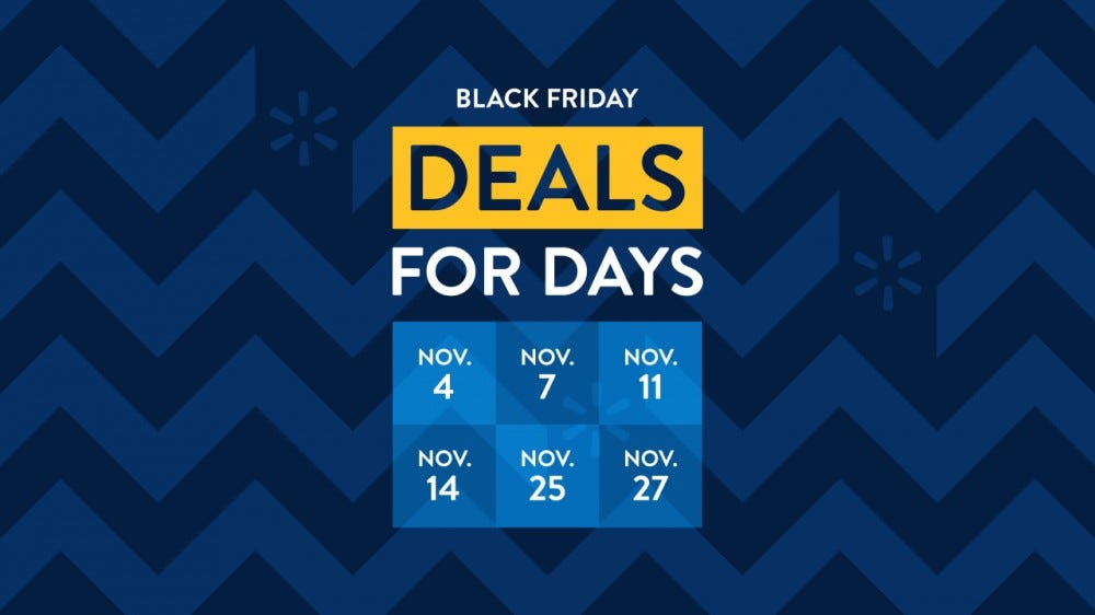 A sign shows the dates for Walmart Black Friday deals