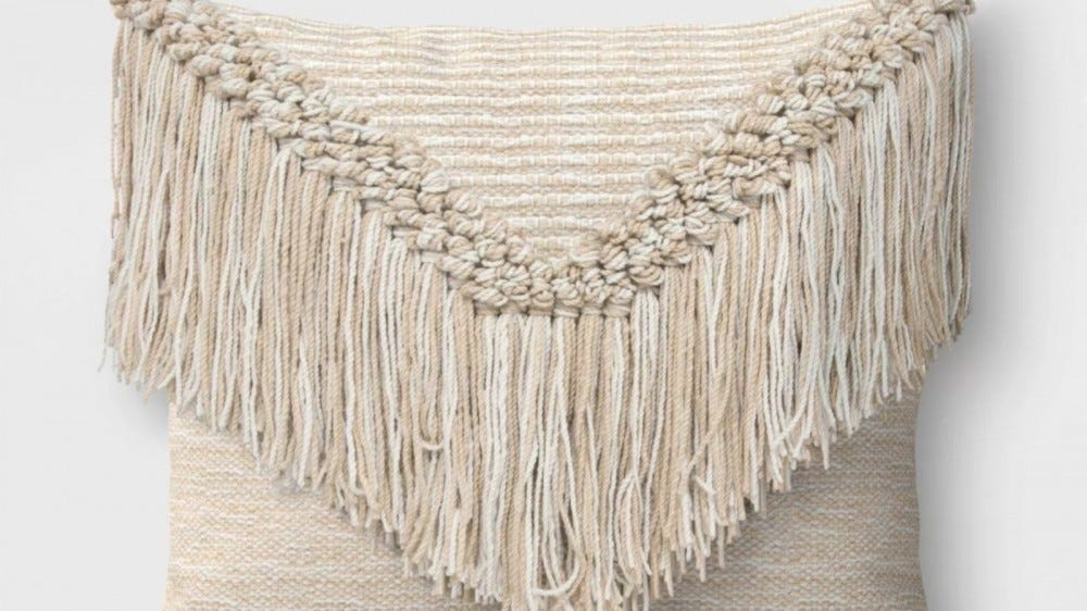 Opalhouse Macrame Outdoor Throw Pillow