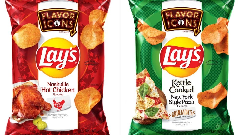 A bag of Nashville hot chicken and new york style pizza lays bags are over a white background.