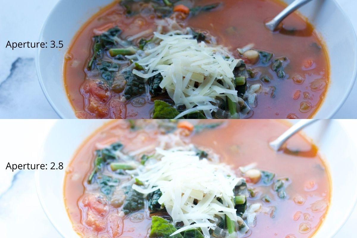 Two shots of tuscan white bean soup: one captured at 3.5 aperture, and the other captured at 2.8.