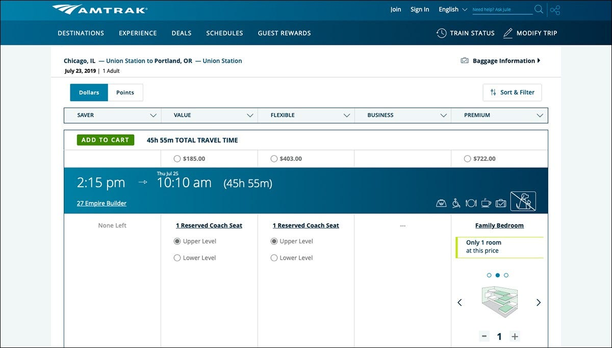 Amtrak costs on the website to travel from Chicago to Portland.