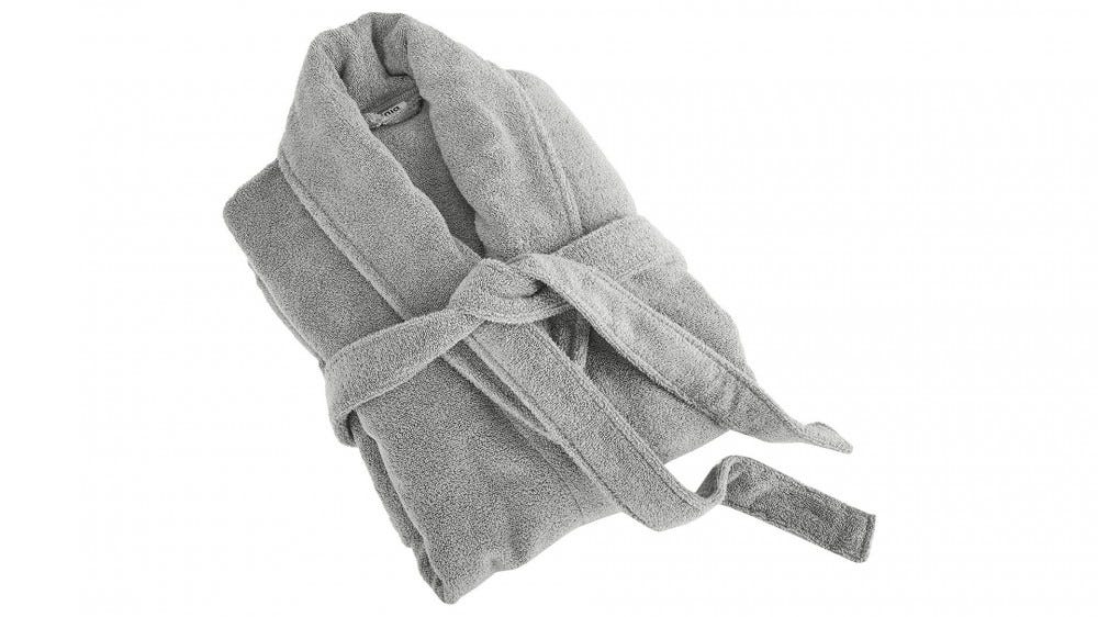 folded gray bathrobe