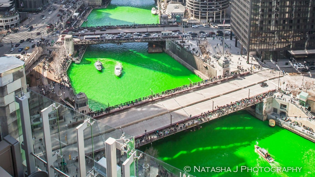 The Chicago River dyed green for St. Patrick's Day.