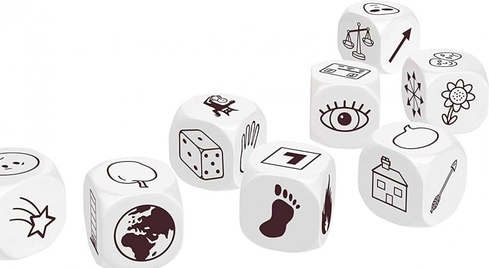 A look at some of the Story Dice.