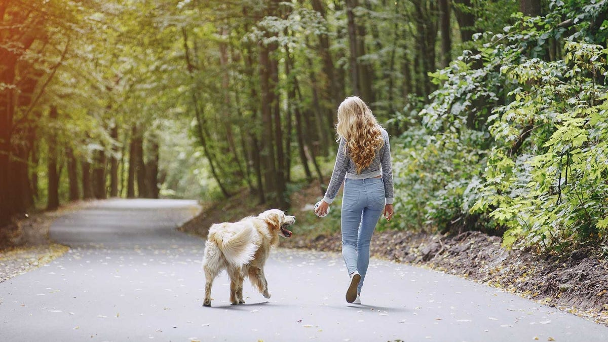 Woman walking on a park path with her dog.
