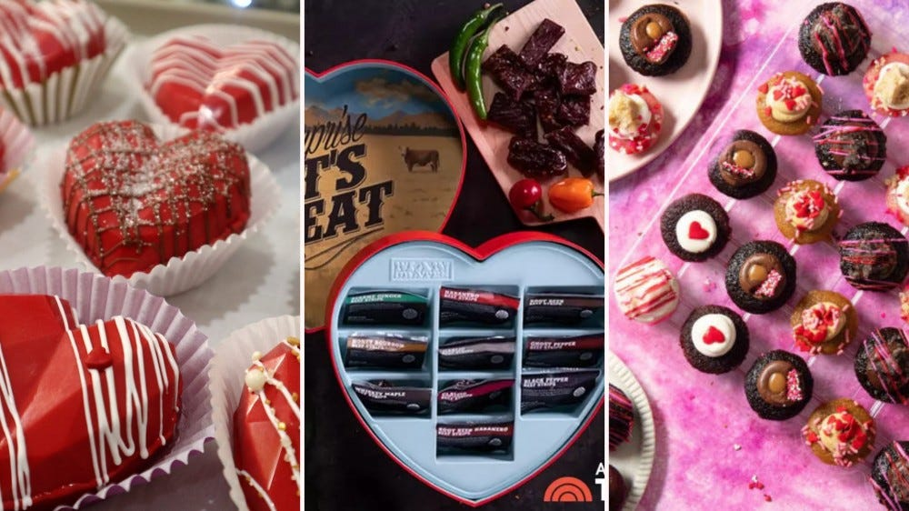 heart shaped cocoa bombs, beef jerky box, and mini cupcakes