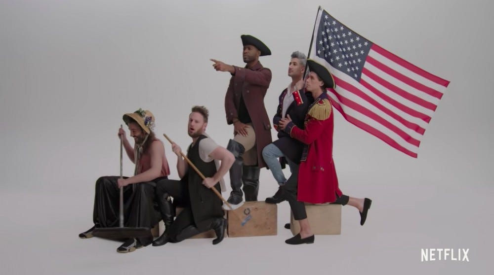 "The cast of ""Queer Eye"" posing as the figures in the ""Washington Crossing the Delaware"" painting."