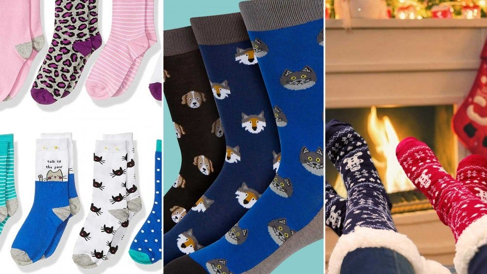 A variety of fun socks for kids and adults.
