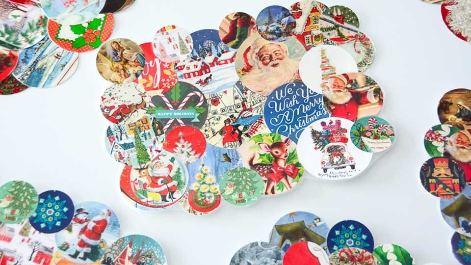 Placemats made from old holiday cards.
