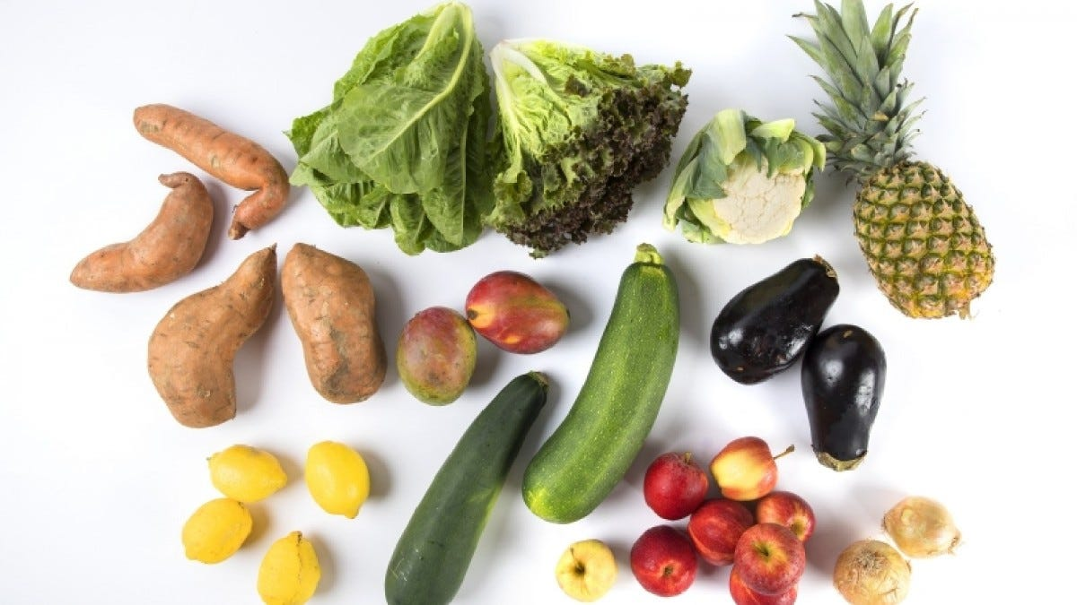 An assortment of vegetables and fruit from Perfectly Imperfect Produce.