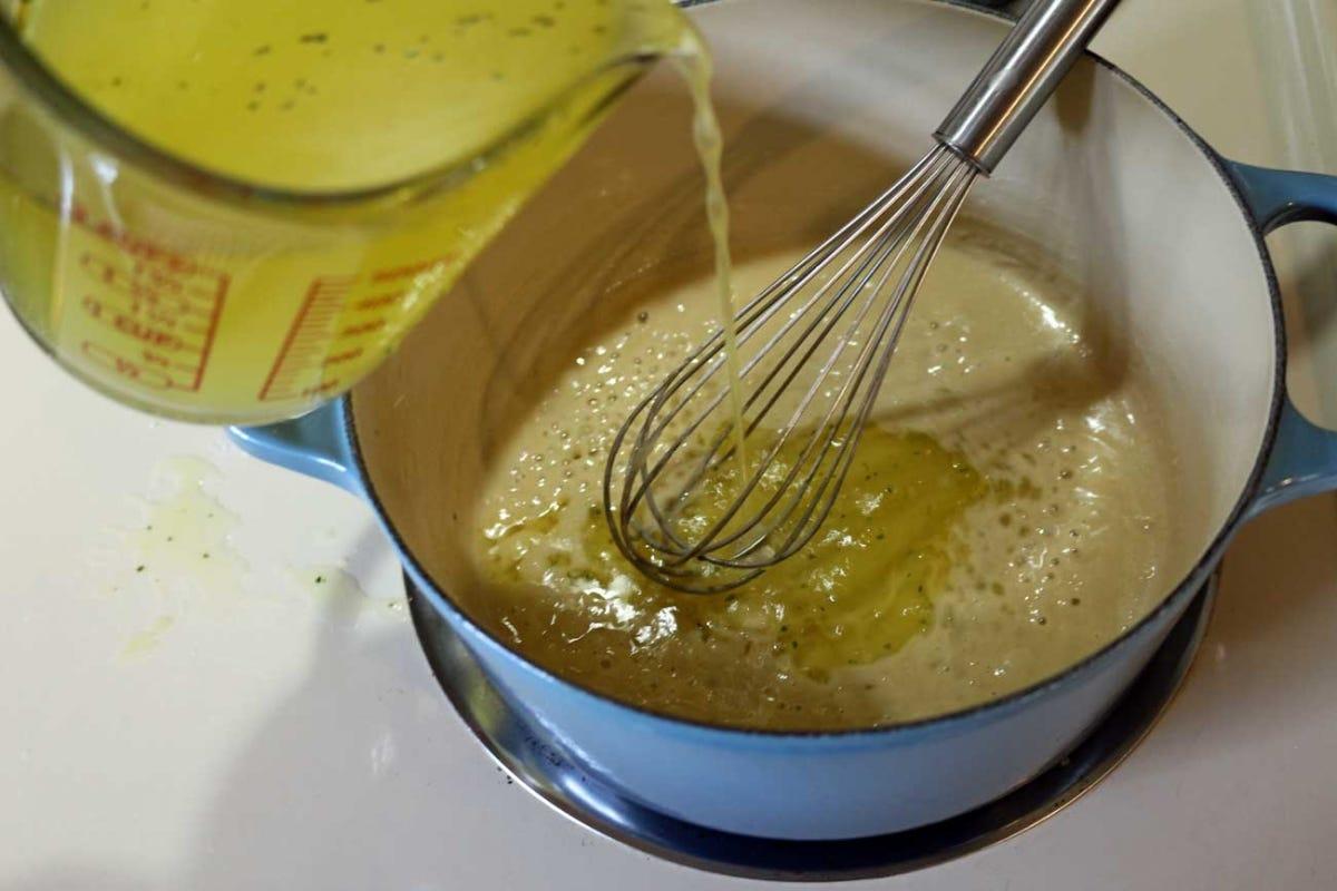 Adding liquid to the roux