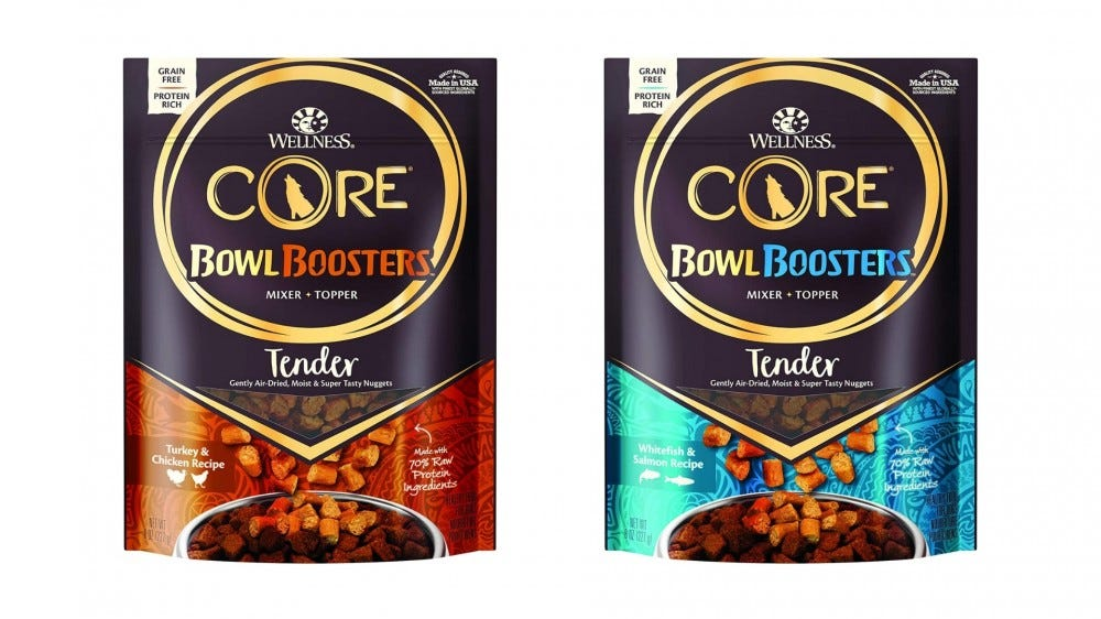 two bags of moist dog food toppers