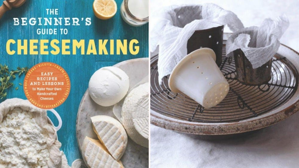 The cover of a cheese making book with pictures of cheese and cheese-making supplies.