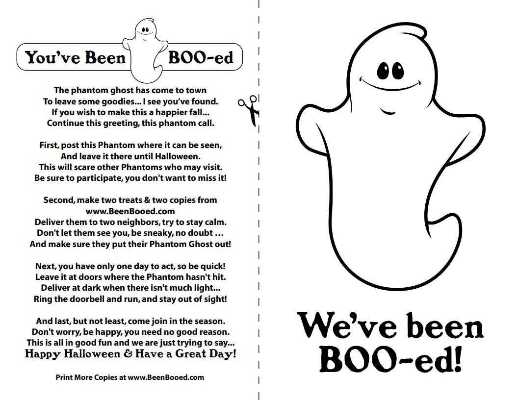 """The booing poem and """"We've been BOO-ed"""" sign"""