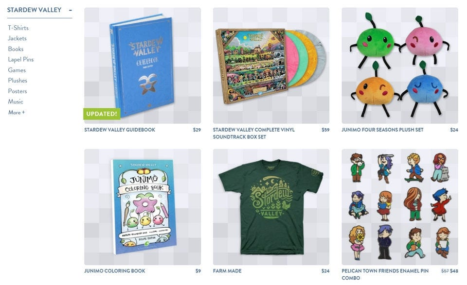 """Stardew Valley"" merchandise on the Fangamer website."