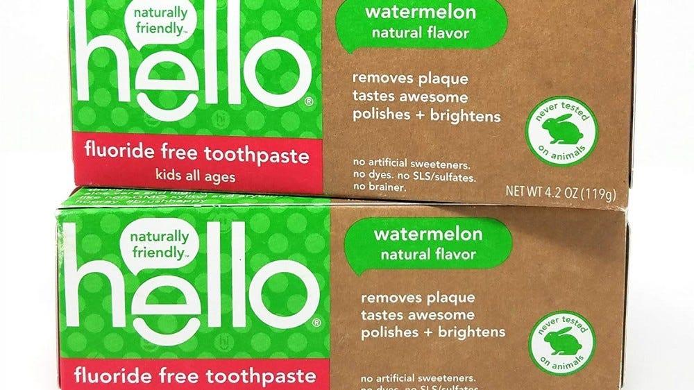Hello Kid's tooth paste boxes.