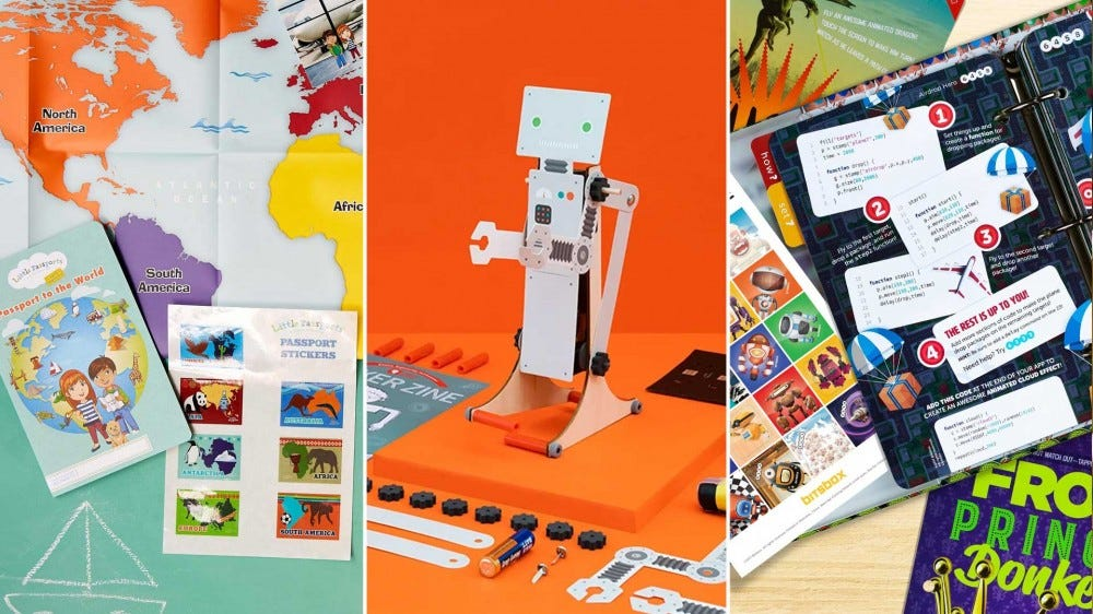 Three examples of kids subscription boxes focused on maps, science, and coding.