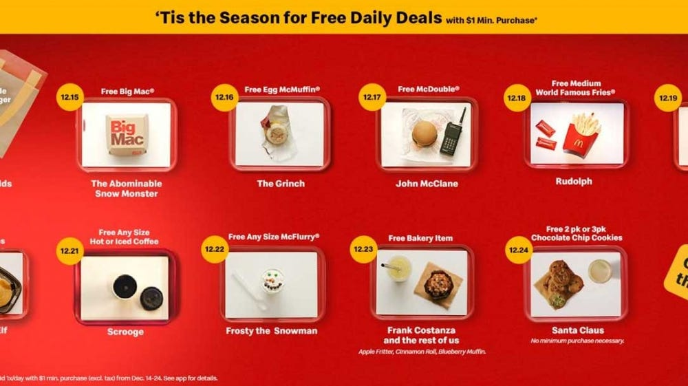 """Examples of themed McDonald's holiday items like the """"Frosty the Snowman"""" McFlurry."""