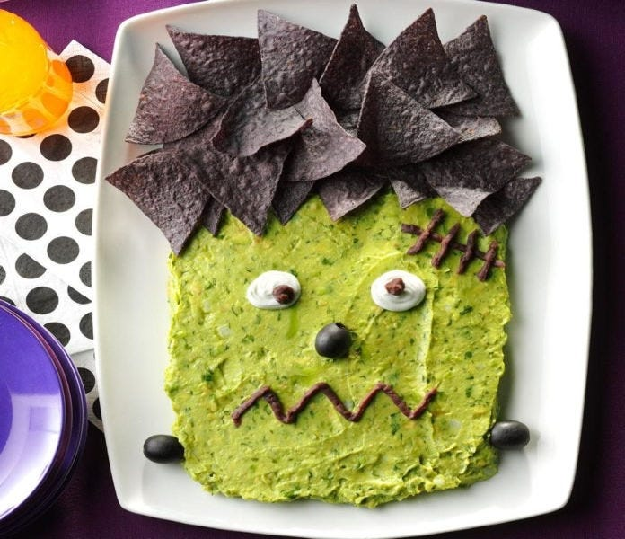 Guacamole that looks like Frankenstein's face.