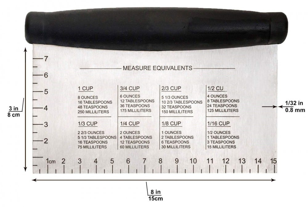 Metal scraper with measurements on it.