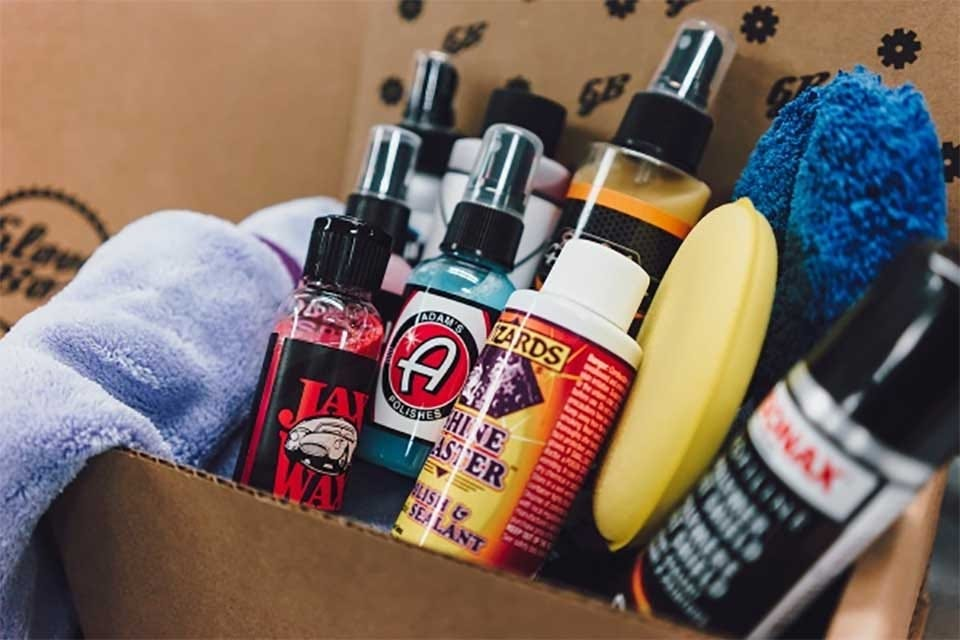 A box of car detailing products.