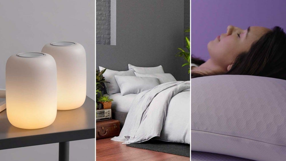 Sleep-friendly gifts, from left to right: Casper Glow light, Brooklinen sheets, and a Purple pillow.