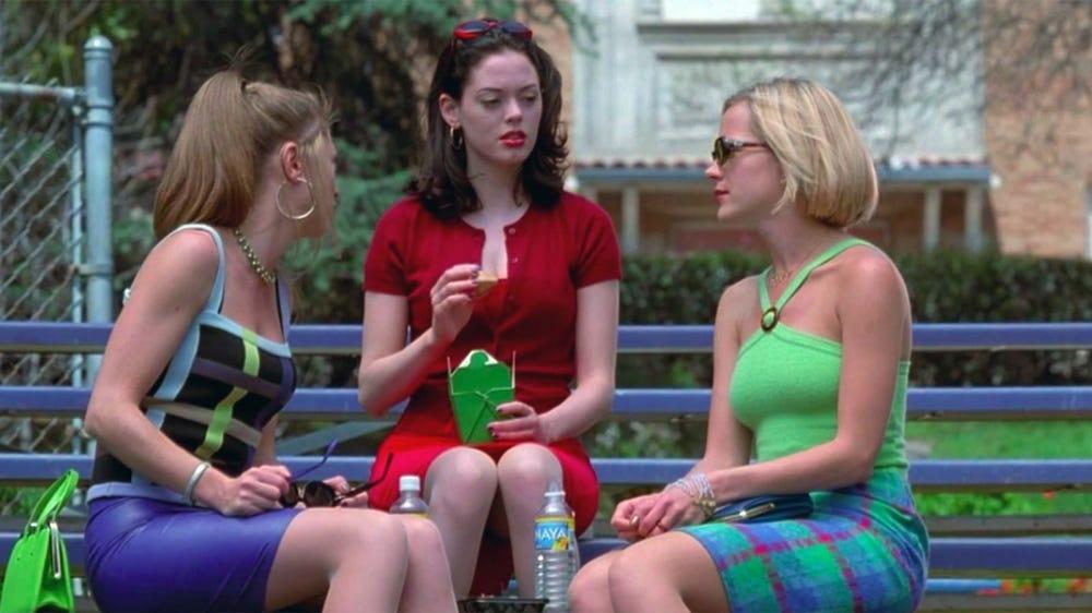 "Rose McGowan, Rebecca Gayheart, and Julie Benz in a scene from ""Jawbreaker."""