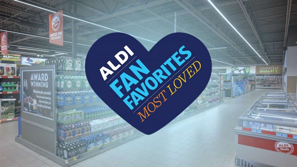 A photo of the aisles at an ALDI store with a logo for their Fan Favorites contest superimposed over them.