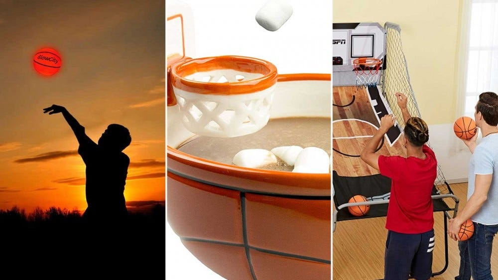 From left to right: a glow in the dark basketball, a basketball mug with a marshmallow hoop, and an indoor basketball game.