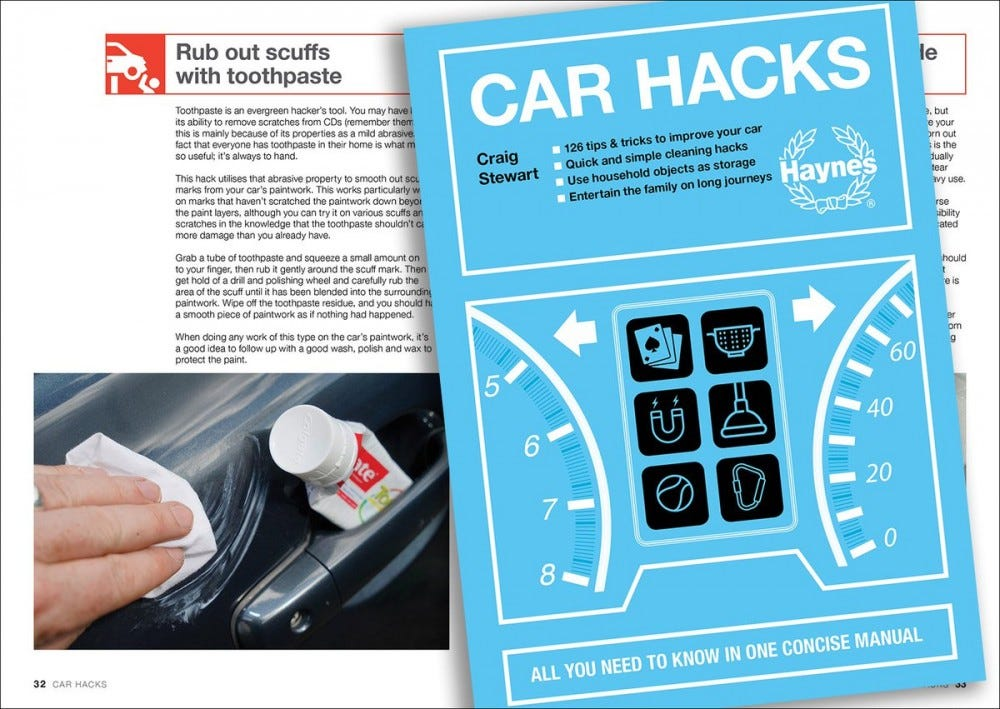 """The """"Car Hacks"""" manual with tips and tricks for taking care of your car."""