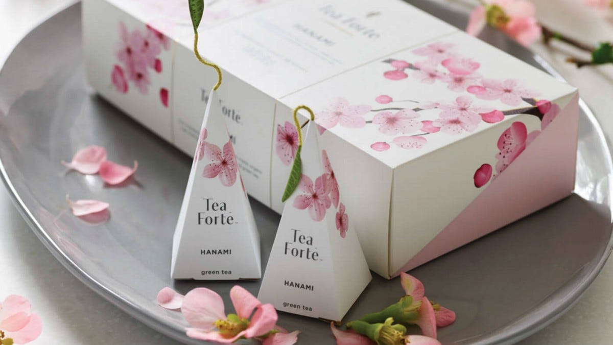 A large box Tea Forté Hanami Tea next to two smaller packages.