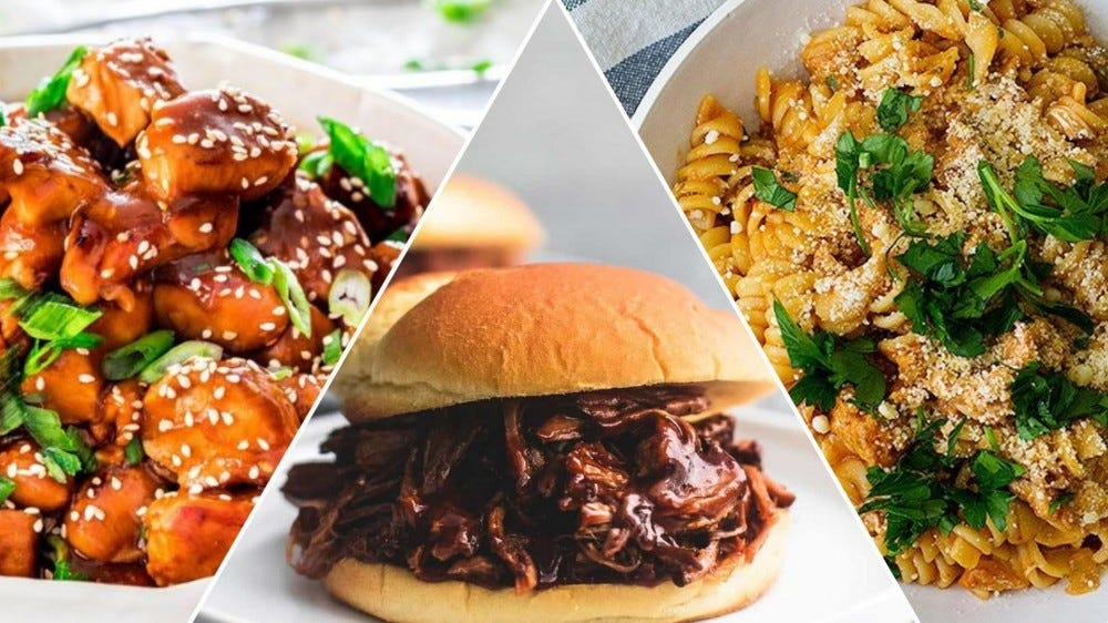 General Tso's Chicken, BBQ pulled pork, and Italian Pasta.