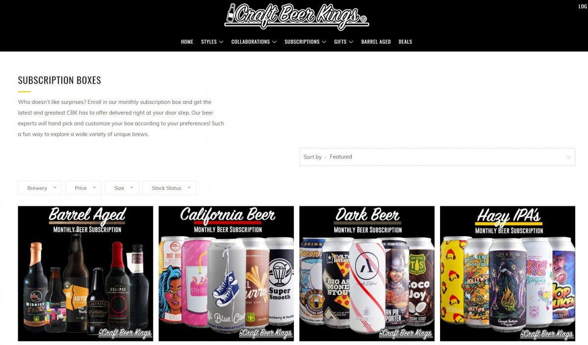 "The Craft Beer Kings ""Subscription Boxes"" page on its website."