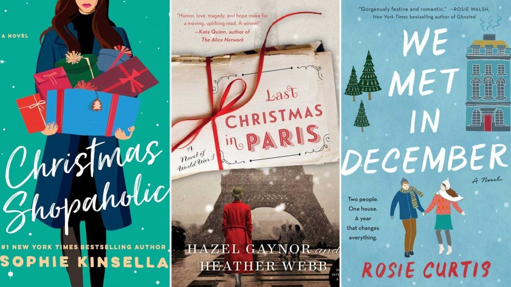 Festive covers of romance novels set during the winter holidays.