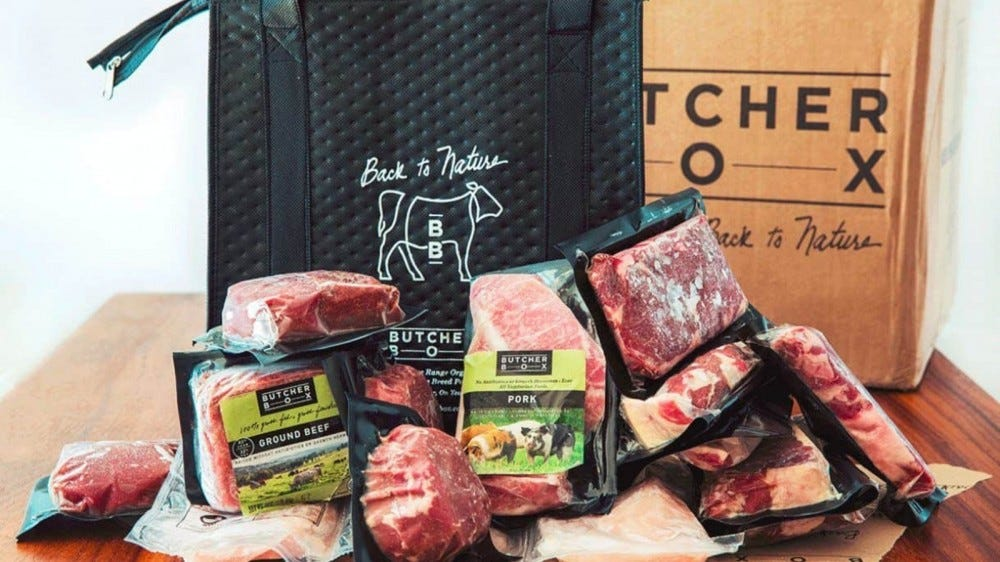 packages of meat in Butcher Box freezer bag