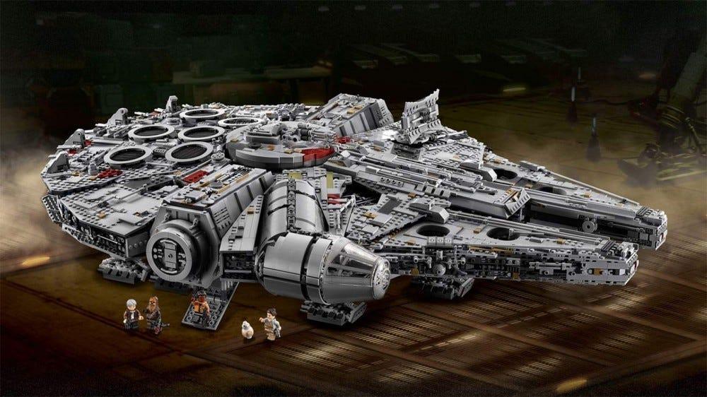 The assembled Millennium Falcon LEGO collector set.