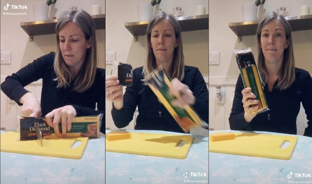 A woman converting cheese packaging into a container.