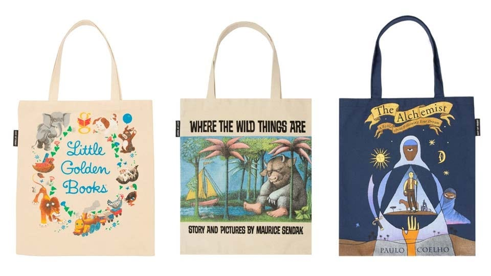 Literary-themed tote bags depicting art from popular books.